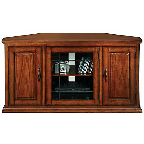 Leick Furniture Oak Leaded Glass Corner TV Stand