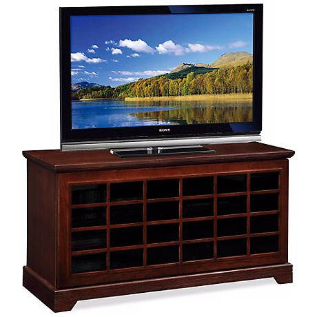Leick Furniture Sliding Grid Door Chocolate Oak TV Stand