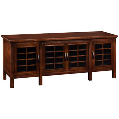 Leick Furniture Cherry Sliding Grid Door TV Stand