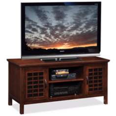 Leick Furniture Chocolate Cherry Grid Door TV Stand