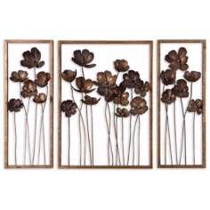 "Set of 3 Uttermost Tulips 40"" Wide Metal Wall Art"