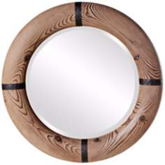 "Howard Elliott Dalton 32"" Wide Framed Round Wall Mirror"