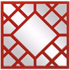 "Howard Elliott Anakin 24"" High Red Lattice Wall Mirror"