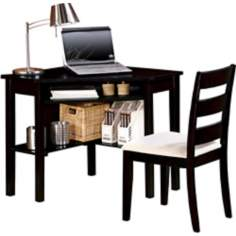 Winslow Black Corner Desk and Chair Set