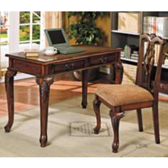 Mable Brown Cherry Writing Desk and Chair Set