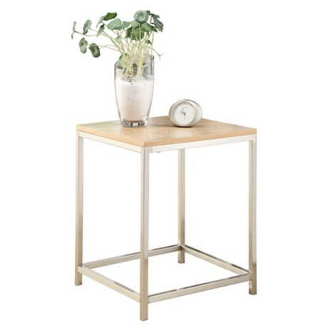 Osip Natural Wood and Chrome End Table