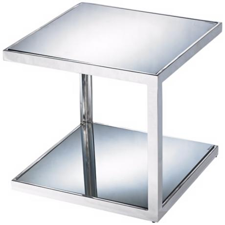 Nolan Chome Mirror Side Table