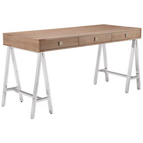 Embassy Driftwood Stainless Steel Desk