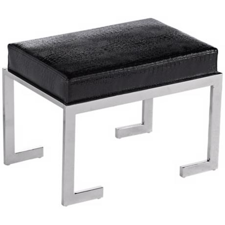 Bridget Black Faux Crocodile Leather Stool