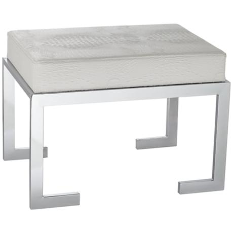 Bridget White Faux Crocodile Leather Stool