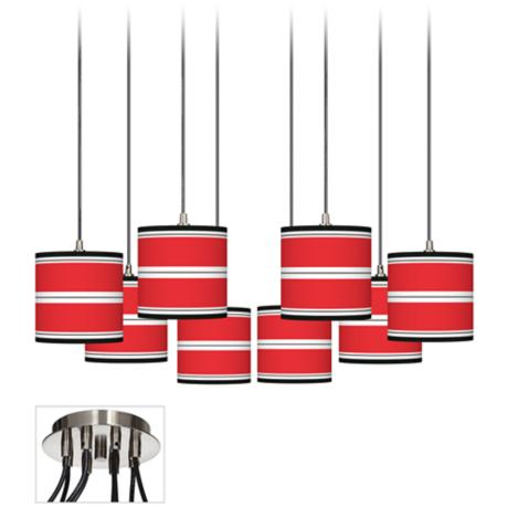 Red Stripes Giclee Luxe 8-Light Swag Fixture