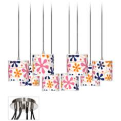 Retro Pink Giclee Luxe 8-Light Swag Chandelier