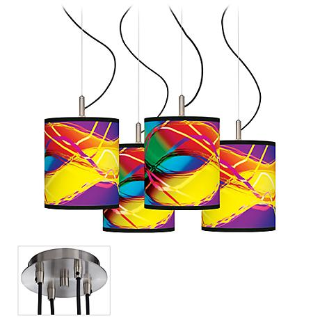 Colors in Motion (Light) Luxe 4-Light Multi-Swag Chandelier