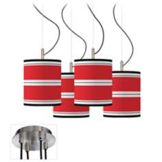 Red Stripes Giclee Luxe 4-Light Multi Swag Chandelier