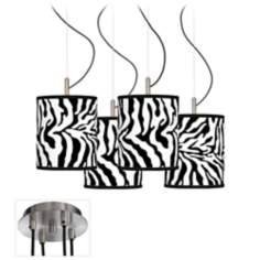Safari Zebra Luxe 4-Light Swag Chandelier