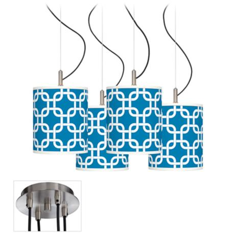 Blue Lattice Luxe 4-Light Swag Chandelier
