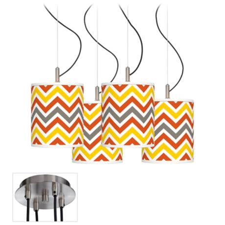Flame Zig Zag Luxe 4-Light Swag Chandelier