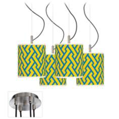 Yellow Brick Weave Luxe 4-Light Swag Fixture