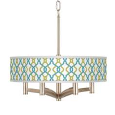 Hyper Links Ava 6-Light Nickel Pendant Chandelier