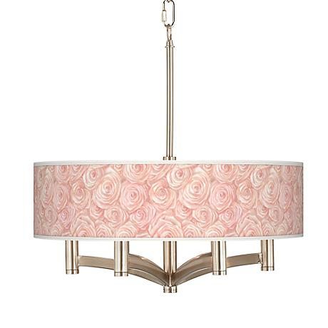 Pink Roses Ava 6-Light Nickel Pendant Chandelier