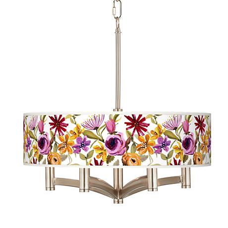 Bountiful Blooms Ava 6-Light Nickel Pendant Chandelier