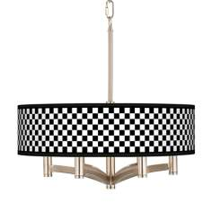 Checkered Black Ava 6-Light Nickel Pendant Chandelier