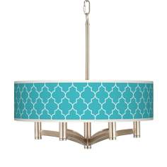 Tangier Blue Ava 6-Light Nickel Pendant Chandelier