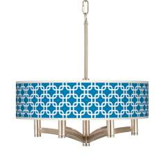 Blue Lattice Ava 6-Light Nickel Pendant Chandelier