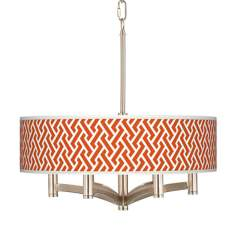 Red Brick Weave Ava 6-Light Nickel Pendant Chandelier