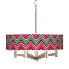 Stacy Garcia Chevron Pride Pink Ava 6-Light Nickel Pendant