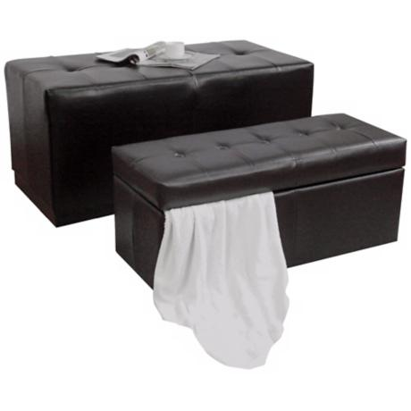 Set of 2 Bicast Leather Storage Bench and Ottoman