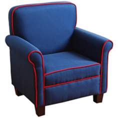 Blue Field Kids Armchair with Red Welt Trim