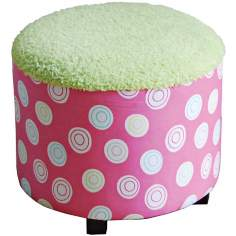 Candy Pink and Green Kids Ottoman