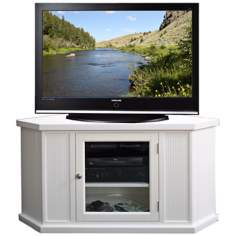 "Leick Furniture 46"" White Corner TV Stand"