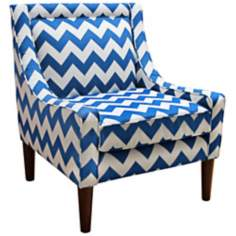 Modern Chevron Marine Swoop Accent Chair