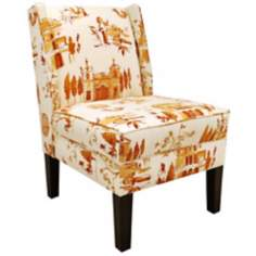 Villa Tangerine Wingback Chair