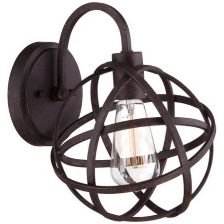 "Industrial Atom 11"" High Edison Bronze Wall Sconce"