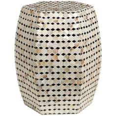 Olivia Polygon Shell Accent Stool