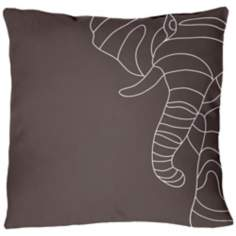 "Uno Charcoal Elephant 18"" Square Down Throw Pillow"