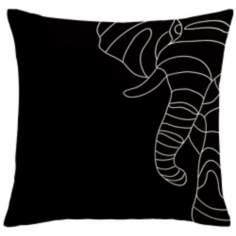 "Uno Black Elephant 18"" Square Down Throw Pillow"