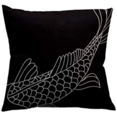 "Uno Black Coi Fish 18"" Square Down Throw Pillow"
