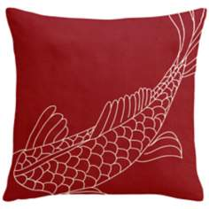 "Uno Fire Red Coi Fish 18"" Square Down Throw Pillow"