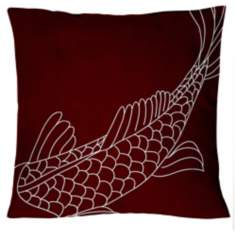 "Uno Wine Red Coi Fish 18"" Square Down Throw Pillow"