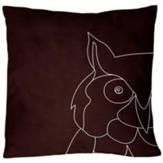"Uno Chocolate Brown Owl 18"" Square Down Throw Pillow"