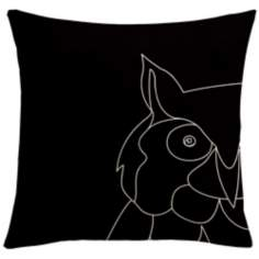 "Uno Black Owl 18"" Square Down Throw Pillow"