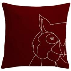 "Uno Wine Red Owl 18"" Square Down Throw Pillow"