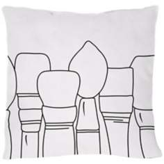"Uno White Paintbrushes 18"" Square Down Throw Pillow"