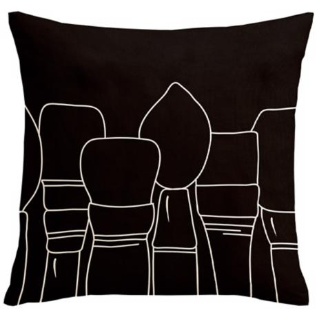 "Uno Black Paintbrushes 18"" Square Down Throw Pillow"