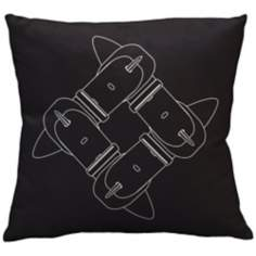 "Uno Dark Grey Safety Belts 18"" Square Down Throw Pillow"