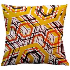 "Infinity Lemon Dizzy Squares 18"" Square Down Throw Pillow"